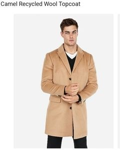 Express mens caramel wool topcoat